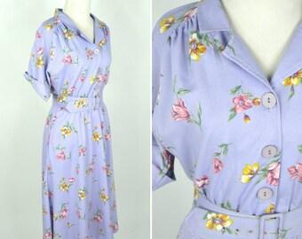 Vintage 1980's Floral Shirtwaist Dress - Purple Belted Secretary Dress - Mid Length Floral Summer Dress - Ladies size 8