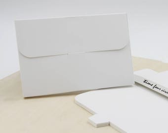 Set of 10, White Post Card Gift Box, Favor, Gift, Party