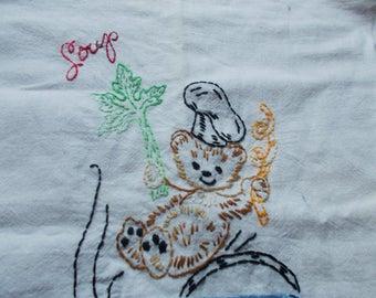 vintage flour sack embroiderd tea towels appx 60's...great  condition