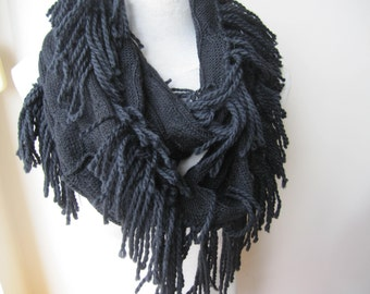Fringe knit scarf -women's Knitted fringe infinity scarf, black knit fabric scarves,woman fashion, Winter acessories Turkish scarves2012