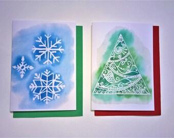 Digital Dowload Printable Two Christmas Cards: Blue Snowflake and Green Christmas Tree