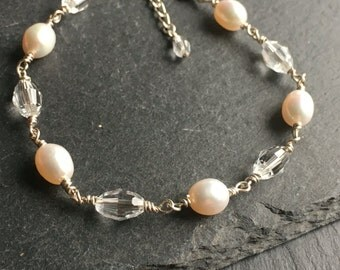 Pearl bracelet, pearl and crystal, sterling silver, bridal jewellery, bridesmsids gift