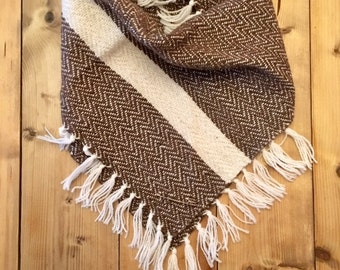 SALE// MIDWESTERN Brown on White Handwoven Bandana Scarf