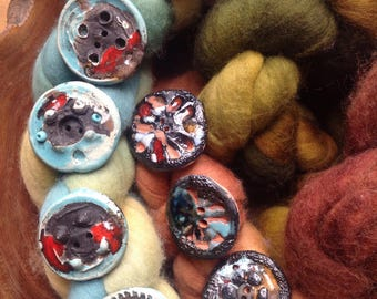 8 Large Pottery Buttons, 40mm, Glazed, Handmade, Black, Aqua, Red, Rustic, Modern, Wonky