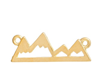 2pc Gold Plated Mountain Range Charm - 24x9mm - Mountain Pendant, Necklace, Jewelry Making Supplies, Jewelry Finding, Ships from USA - N42