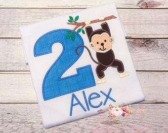 Monkey Birthday Shirt, Applique, Numbers 1-9, for boys
