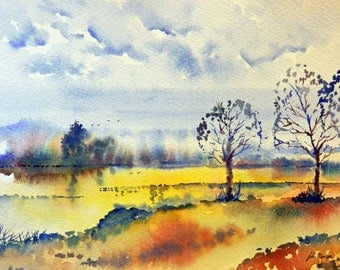 Dawn , print from an original watercolour painting by John Menage size A3 or A4