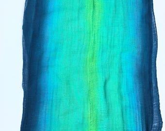 Hand Dyed Cotton Gauze Fabric, Handmade Fiber Art Supplies Blue, Aqua, and Lime Green, Cotton Fabric, Nunofelting, Nuno Felting, Feltmaking