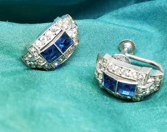 Antique Art Deco Sapphire Earrings