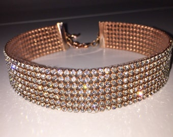 Choker, Rose Gold Clear Crystal Choker, choker jewelry, crystal jewelry