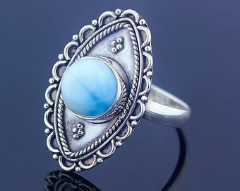 Larimar Ring - 925 Sterling Silver - US Ring Size 7.5