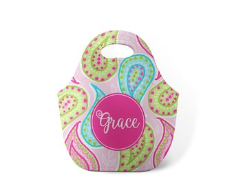 Personalized Lunch Tote - Paisley - Custom Lunch tote for Children