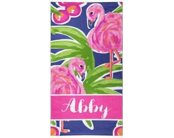 Flamingo Pattern Personalized Beach Towel