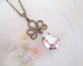 Vintage Swarovski Tear Pear AB Jewel Pendant Necklace, Antique Brass, Prong Set, Vintage Jewel, Costume Jewelry, Nickel Free