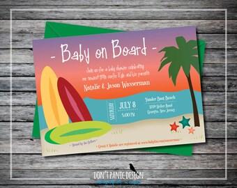 Printable Baby Shower Invitation - Fun Beach Baby Shower - Baby on Board Surf Board Baby Shower - Gender Neutral Invitation - Custom Color