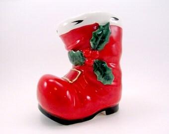 Lefton Santa Boot Planter 1950s Ceramic Boot Christmas Decoration Red