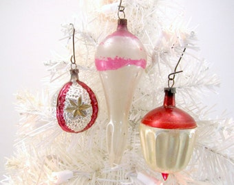 Vintage Glass Christmas Ornaments German Fancy Shaped Decorations 1930s