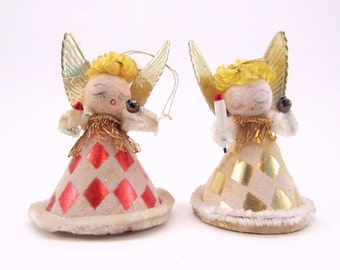 1950s Vintage Spun Cotton And Paper Angels, Christmas Holiday Ornaments, Decorations