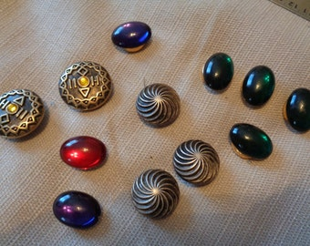 3 sets of Button Covers Silver Conch Jewel Tones Brass