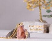 SALE Gold dipped peach druzy agate stone pendant, sparkly deep talisman stone unique stone, golden bohemian jewelry, golden stone pendant