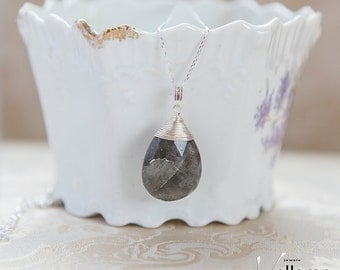 Dainty small faceted labradorite pendant, sterling silver tear drop labradorite, natural stone small pendant, delicate gift for her
