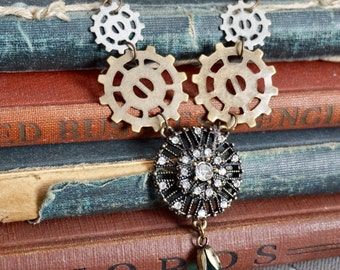 Steampunk Jewelry Steampunk Necklace, Gear Jewelry Gear Necklace, Steampunk Pendant, Deco Punk Decopunk, Art Deco Jewelry, Art Deco Necklace