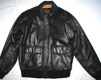 US Army Air Force Flyers Men's Leather Bomber Type A-2 Jacket - Size Large Long