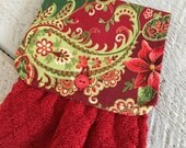 Hanging Kitchen Towel  - Christmas Paisley Poinsettia Gold Shimmer Outline Red Diamond Terry Cloth Towel Button Closure