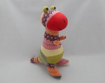 Dinosaur Plush Toy, T Rex Plushie, Stuffed Animal, Sock Monkey