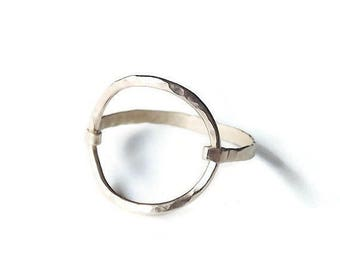 ON SALE Hammered Large Circle Gold Filled or Sterling Ring - Gold Ring - Circle Ring