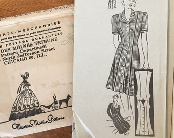 1940s Marian Martin Button Front Day Swing Dress Pattern 9311