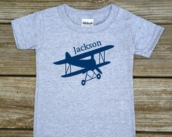 SALE Personalized Bi-plane T-Shirt or Bodysuit - Bi-plane Biplane Airplane Plane Baby Bodysuit T-Shirt - Choice of White, Grey, Blue, or Pin