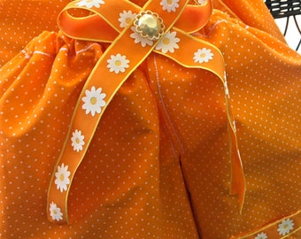 Reserved for Sophia, Shoe Pants, Orange with White Dots with Matching Gift Bags