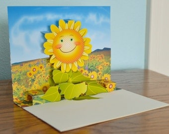 Pop-up flower Card Any occasion card Smiling Flower popup card Brighten My Day Flower card