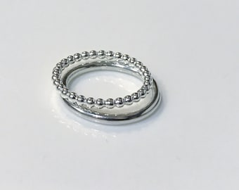 FLASH SALE - Sterling Silver Halo Double  1 chunky bead and 1 contemporary halo - size L