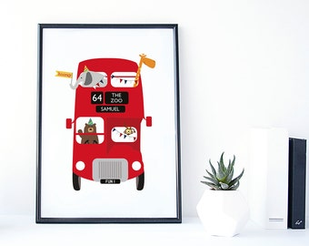 Zoo Animal Red Bus Print - personalised childrens print - zoo bus print - london bus print - red bus - baby gift - christening gift - uk