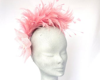 Dusky Pink Kitty Feather Fascinator Headpiece Hat Ideal for a Wedding, Mother of the Bride, Derby Races, Kentucky Derby, Royal Ascot, Bride