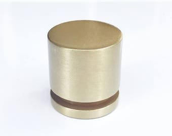 "Brass Cabinet Knob 1"" Hardware Furniture Knob and Pull Satin Brass Knobs"
