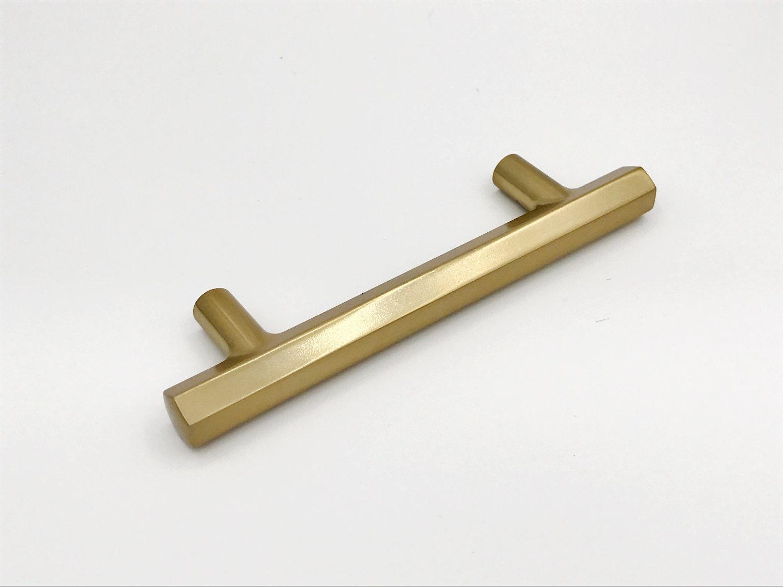 4 Geo Drawer Pull Cabinet Knobs T Bar Brass Drawer