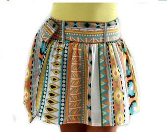CHRISTMAS SALE Colorful Tribal Orange Mini Skirt - Ready to ship