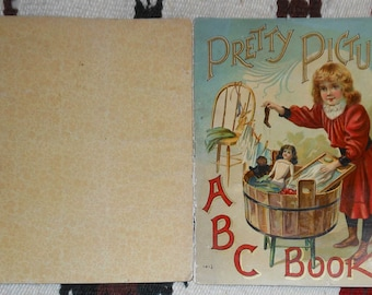 vintage children's a b c in color book tiled pretty picture a b c book Mcloughlin bros ca. 1900