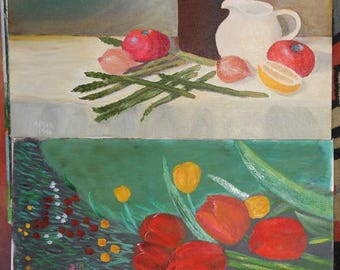 two vintage still life tulips asparagus oil paintings ca 1990 signed