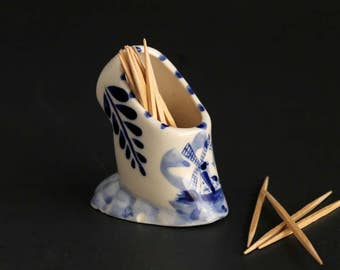 Vintage Delft Blue Hand Painted Toothpick Holder Souvenir Made In Holland