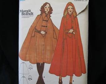 Rare, OOP, Margit Brandt Cape Pattern, medium 12/14, Butterick 6465 circa 1970, featured in Seventeen magazine October 1971, Danish designer