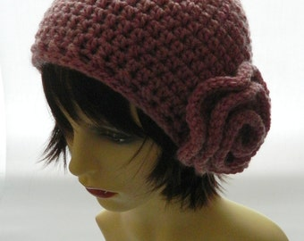 crochet hat with flower, flower hat, pixie hat, cosy hat, warm hat, autumn fashion, ready to ship, Uk shop