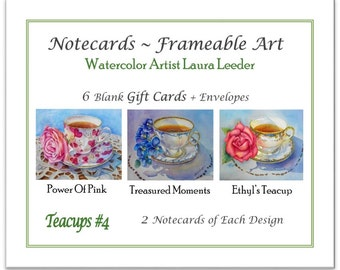 Teacup Series #4 6 Blank Notecards, Party Favors