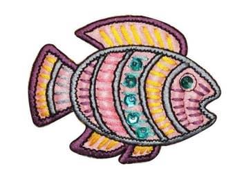 ID 0208B Tropical Ancient Fish Patch Shiny Sequins Emblem Iron On Applique