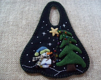 Little Snowman Decorating the Christmas Tree Winter Door Hanger