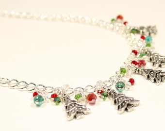 Christmas Necklace / Red Necklace / Crystal Necklace / Holiday Jewelry / Beaded Jewelry / Red and Green Necklace  / Christmas Jewelry