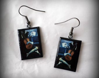 The Old Guitarist Pablo Picasso Earrings Handmade Polymer Clay